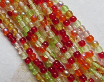 Tropical Passion, Mix 4mm Round Czech Beads, 100 Beads - Item 3527