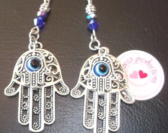 Hasma With Blue Evil Eye in the Center of second smaller Hasma-blue 4mm glass bicone crystals, 2mm silver spacers,2mm black glass bead