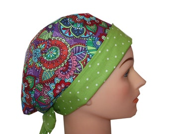 Scrub Hat Surgical Scrub Cap Chemo Hat Flirty Front Fold Pixie Style Purple Butterfly Floral Red Blue Pink Orange Lime 2nd Item Ships FREE