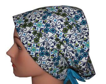 Scrub Hat Surgical Scrub Cap Chemo Vet Nurse Dr Hat EuroGlam Pixie European Style - Blue Green White Lace Flowers - 2nd Item Ships FREE