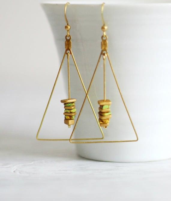 triangle brass earrings beaded triangle earrings dangle. Black Bedroom Furniture Sets. Home Design Ideas
