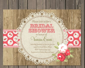 Rose Bridal Shower Invitation, Rustic Wood and Lace Doily Bridal Shower Invitation, Printable or Printed