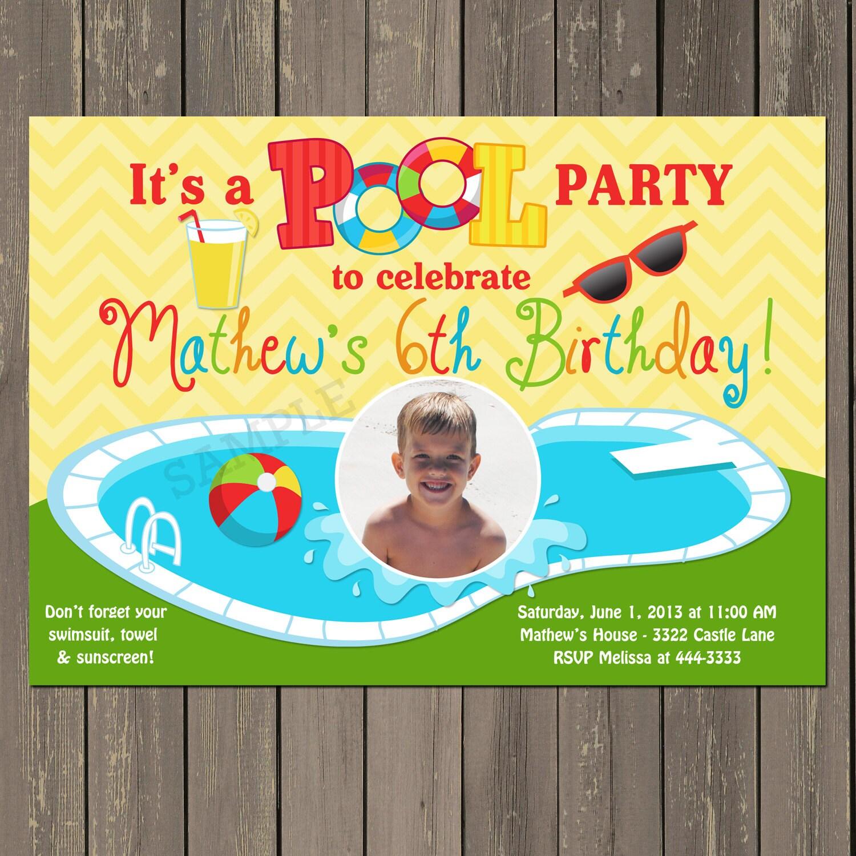 Pool Party Invitation Summer Swimming Party Invite Swim