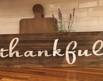 Thankful, rustic sign, farmhouse, rustic fall