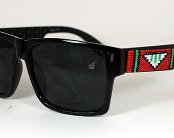 Beaded Sunglasses Mens Red Tribal