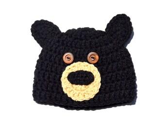 Crochet Baby Hat, Black Bear Crochet Hat, Bear Ear Beanie, Baby Boy Animal Hat, Infant Bear Hat, Black Bear Knit Hat, Knit Baby Hat, Newborn