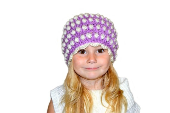 Girls Crochet Hat Polka Dots Purple Hat Toddler Girls Newborn Girl Hospital Hat Old Fashioned Girl Retro Vintage Feel Womens Cap Purple Knit