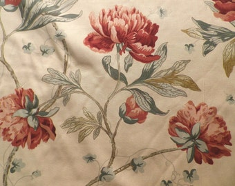Vintage 1990 Charles Hammond Cotton Fabric 'Blaisdon' Red on Dark Cream