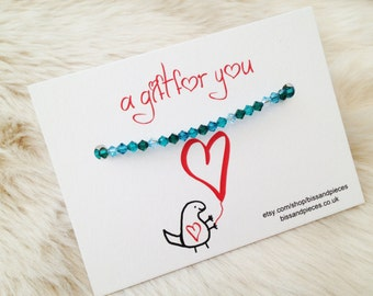 Swarovski elements crystal bicone beaded bracelet on a  gift  for you card. Teal mix beaded bracelet.