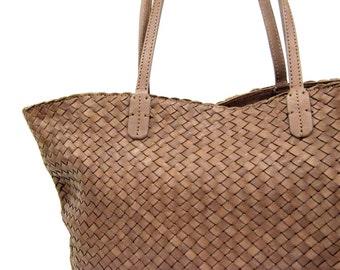 braided leather bag tote leather handbag genuine leather women bag