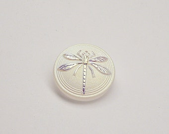 Czech Hand Made Art Glass Cabochon with Dragonfly (BUT15076/8) Crystal Matte AB, size 8, 18mm, 1pc