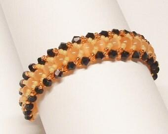 Handmade Beadwoven Beaded Bracelet in Orange, Gold and Black