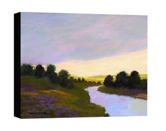 Canvas print landscape, river, sunset, stream, river valley, mountain scenic, fields and trees, dark green, yellow, lavender painting