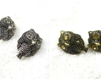 15% discount/Fashion stud earrings/bronze/silver/owl/28 x 20 mm. cheap/affordable/discount/sale/ low price/ stud earrings