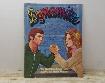 Dynamite Magazine, 1976, vintage magazine, school book form, bionic woman