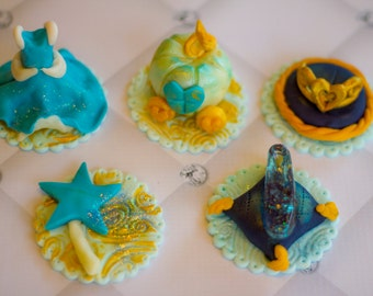 Six Cinderella-themed toppers