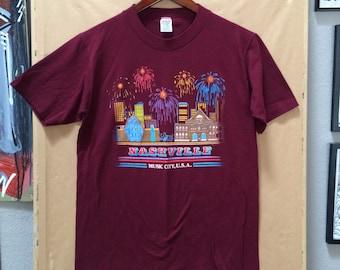 Vintage Nashville Tennessee Music City USA T-Shirt 1980's Medium