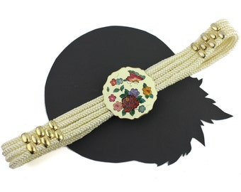 Cream Braided Rope Belt with Floral Butterfly Buckle