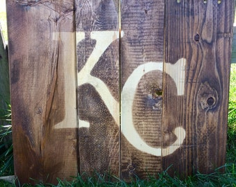 Repurposed wood KC sign