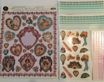 Victorian Fans and Hearts Stickers by The Gifted Line John Grossman 0240