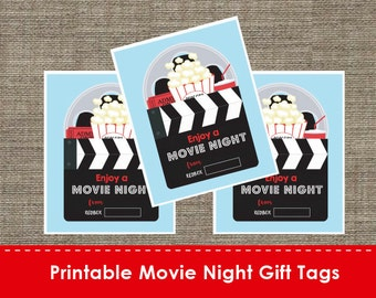 Printable Movie Night Gift Tag Labels - DIY - The Studio Barn