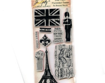 Tim Holtz EURO ELEMENTS Eiffel Tower Paris post mark   Red Rubber Cling Stamps cc02 RS069