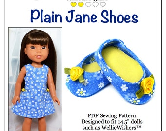 Pixie Faire Love U Bunches Plain Jane Shoes Doll Clothes Pattern for 14.5 Inch Dolls Such As WellieWishers  - PDF