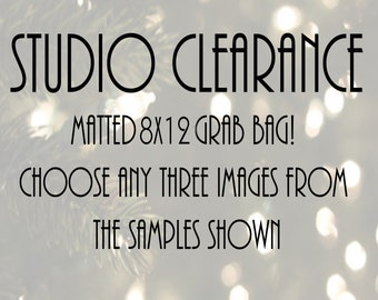 Studio Clearance! Choose any 3 Nature or Macro Flower Photographs, Black and White Photo Print, Hostess Gift, Matted Photo Print