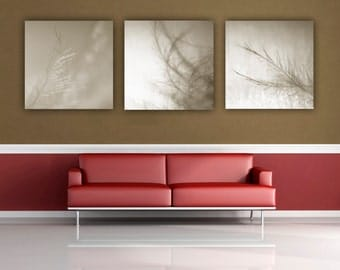 Feather Photography, Sepia Nature Photograph, Ethereal Abstract Photo, Wispy Feather Print Set, Brown Square Wall Art, Fine Art Photo Print
