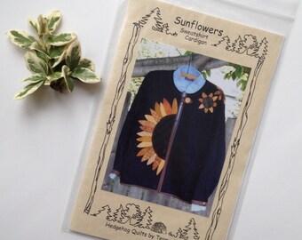 Sunflowers Sweatshirt Cardigan Applique Pattern, Cardigan Sweatshirt Pattern, Sunflower Cardigan Pattern, Quiltsy Destash Party
