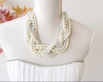 Pearl Rhinestone Statement Necklace, Chunky Pearl and Rhinestone Necklace,  Pearl Necklace, Chunky Pearl Necklace
