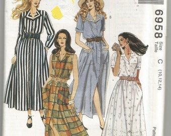 6958 McCalls Sewing Pattern Front Button Dress Gathered Skirt UNCUT Size 10 12 14 Factory Folded