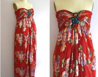 Oscar de la Renta Evening Dress/ 80s Strapless Party Dress/  Red Embellished Dress/ Womens Size Small
