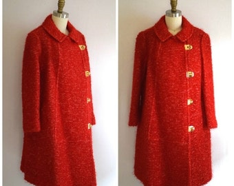 SALE 20% OFF- 60s Red Boucle Wool Coat/ 1960s Mod Double Breasted Coat/ Women's Size Medium