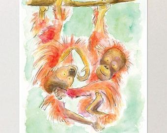 Orangutan Monkey Print from Original Painting, Nursery Decor, Nursery Art, Illustration, Playroom Art