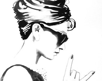 B&W Audrey Rocks Art Print Original Watercolor Painting Fashion Illustration Vintage Black and White 1960s Style Icon 60s Hair