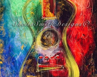 Awesome abstract acrylic guitar, painted on canvas and ready to hang!