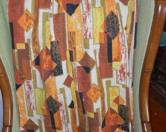 Orange/Green Tones Vintage Barkcloth Panel