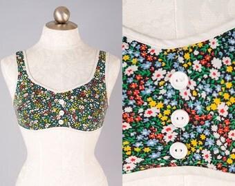 1960s Black Floral Cotton Bustier Summer Bra Top w/ Button Detail Size M