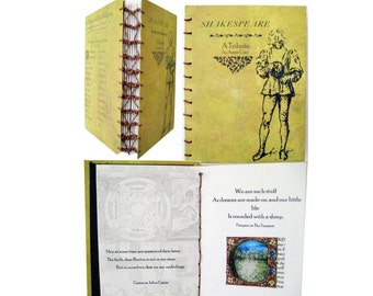 Artist book, Coptic stitch book , Book Art , Handmade book , Writer's gift, Hand bound book, 'Shakespeare - A Tribute', art gift