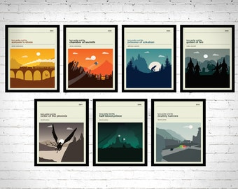 Harry Potter Movie Posters - Set of Prints, Movie Poster, Movie Print, Film Poster, Harry Potter Poster, Harry Potter Print
