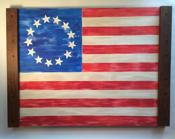 Betsy Ross American Flag on a Crate Flat, Historic American Flags, Folk Art Revolutionary War Flag Painted on Wood, Star Spangled Banner