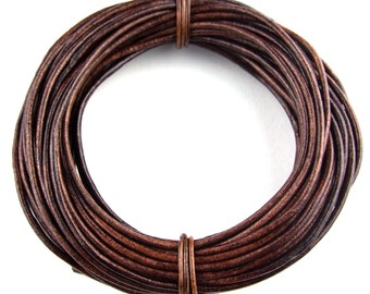 Brown Distressed Round Leather Cord 3mm 10 meters (11 yards)