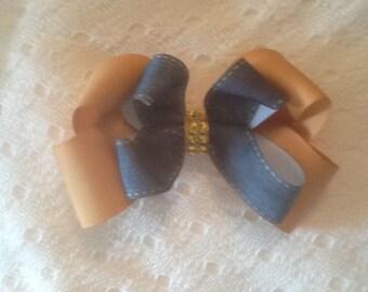 Handmade Gold Denim Hair Bow