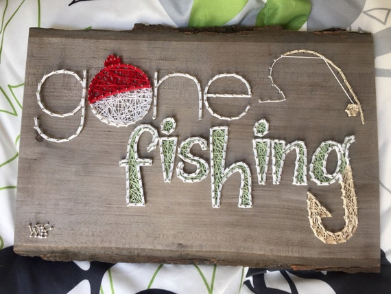 Items similar to gone fishing string art sign on etsy for Fish string art
