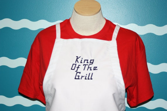 Grill Apron - BBQ Apron - King of the Grill - Grill Cooking - Outdoor Grilling Apron - Gift for men - Fathers day gift - Gift for dad