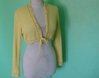 70's Cropped Cardigan Sweater Bright Yellow Tie Front
