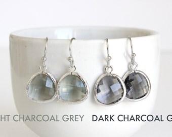 Charcoal Grey Earrings, Silver Gray Earrings Light Charcoal Earrings Grey Glass Earrings Gray Bridesmaids Earrings Grey Bridal Jewelry