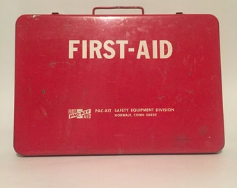 Salvaged Red First Aid Metal Box