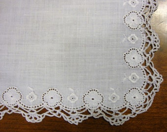 Beutiful White on White  Bridal Hankie